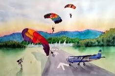 Sky Diving At Pelican - Framed Watercolour - $150