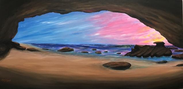 Main Cave - Caves Beach Pink sunrise Acrylic on canvas $200